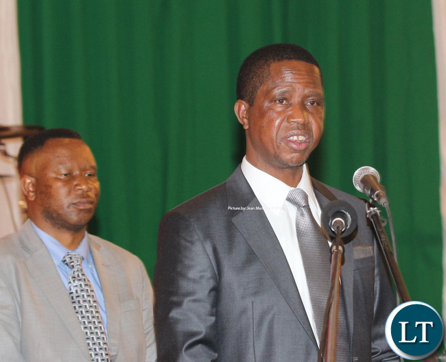 President Edgar Chagwa Lungu delivering his remarks.