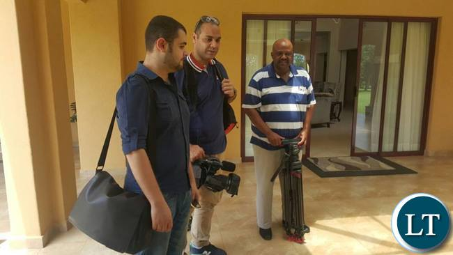 Local TV Producer Lawrence Thompson (far right) with the Aljazeera crew after shooting