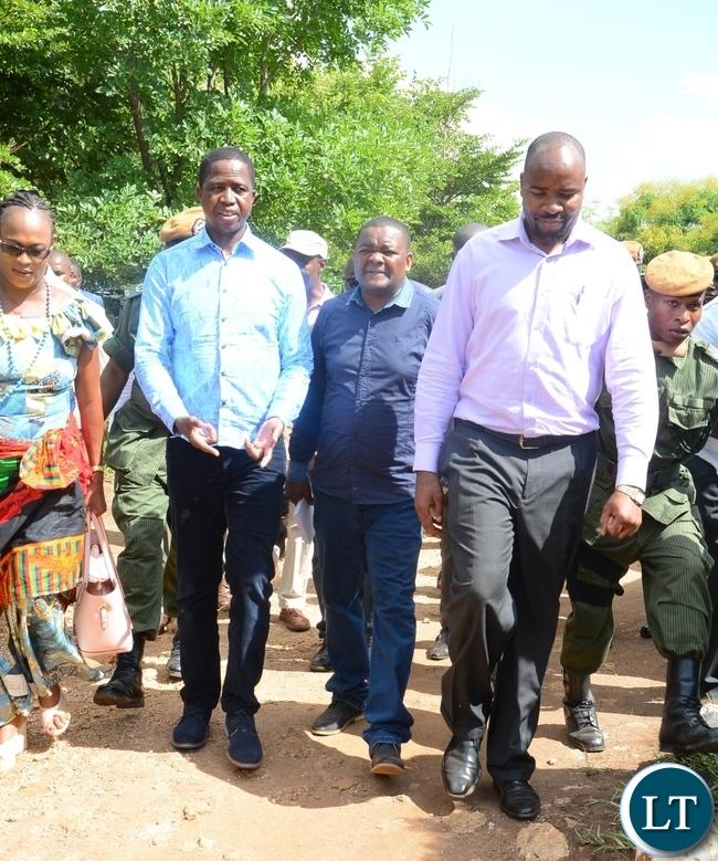 President Edgar Lungu with Deputy General Secretary Mumbi Phiri, Deputy Minister of information, Folie Tembo and Hon. Malozo Phiri(right) in Nyimba