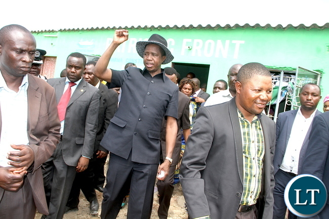 President Lungu leaves after visiting the Patriotic Front offices in Chawama constituency. This was after the Head of State attended Mass at Regina Parish in Lusaka's Chawama Constituency on Sunday, Jan 3,2016 -Picture by THOMAS NSAMA