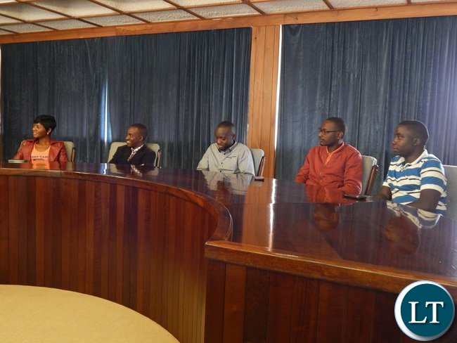 The five nominees listen to Zambia's High Commissioner to S. Africa, His Excellency Mr. Emmanuel Mwamba when they were welcomed at the High Commission in Pretoria
