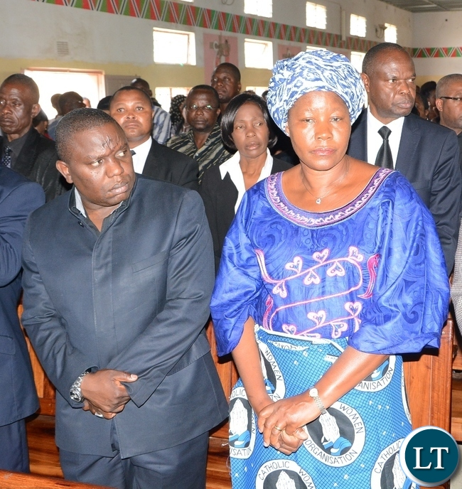 Foreign Affairs Minister Harry Kalaba and FDD President Edith Nawakwi mourns late ZNBC staff Faith Kandaba at the Church Service at Saint Pauls Catholic in Lusaka
