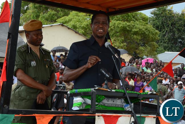 President Lungu addressing a really at Itezhi Itezhi Market yesterday 14-02-2016. Picture by ROYD SIBAJENE/ZANIS