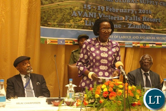 VICE President Inonge Wina gives her speech during the African Regional Labour Administration Centre (ARLAC) governing council meeting at Avani Victoria Falls Resort in Livingstone on Wednesday. Listening are ARLAC Vice Chairperson Dr. Chris Ngige (l) and Labour Minister Fackson Shamenda.