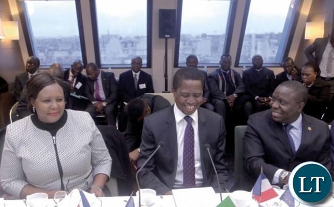 President Lungu with Dora Siliya and Harry Kalaba