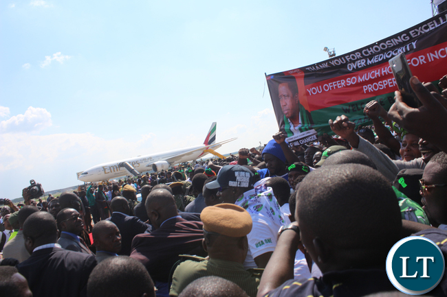 PF cadres welcoming President Lungu