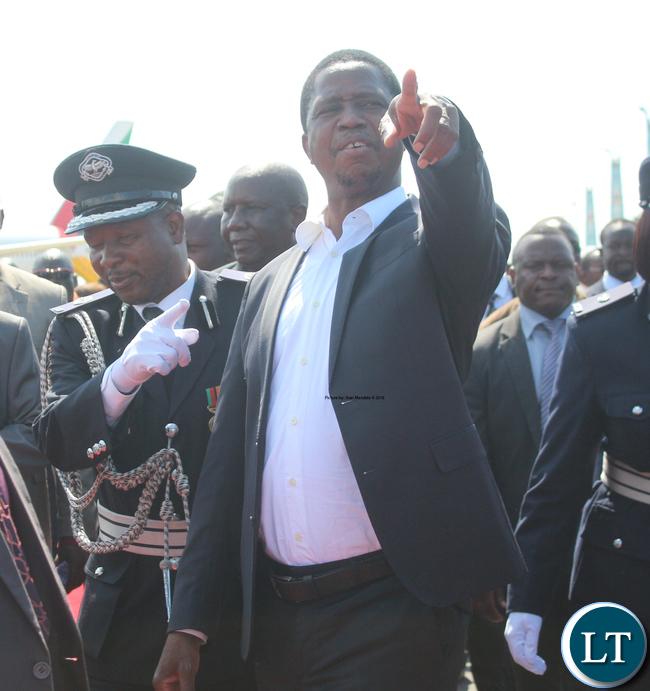 President Lungu on arrival at the KKIA