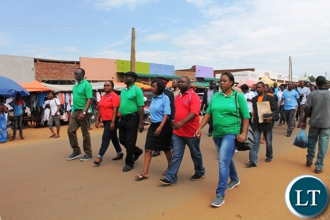 L-R:Eastern Province Permanent Secretary Chanda Kasolo, MISA Zambia Chairperson Hellen Mwale, Information Permanent Secretary Godfrey Malama and Independent Broadcasting Authority Director General Josephine Mapoma marching during World Radio Day in Chipata