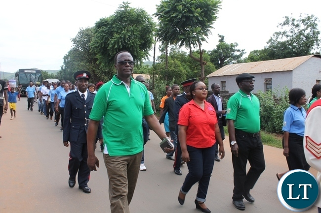 Eastern Province Permanent Secretary Chanda Kasolo, MISA Zambia Chairperson Hellen Mwale and Information Permanent Secretary Godfrey Malamamarching during World Radio Day in Chipata
