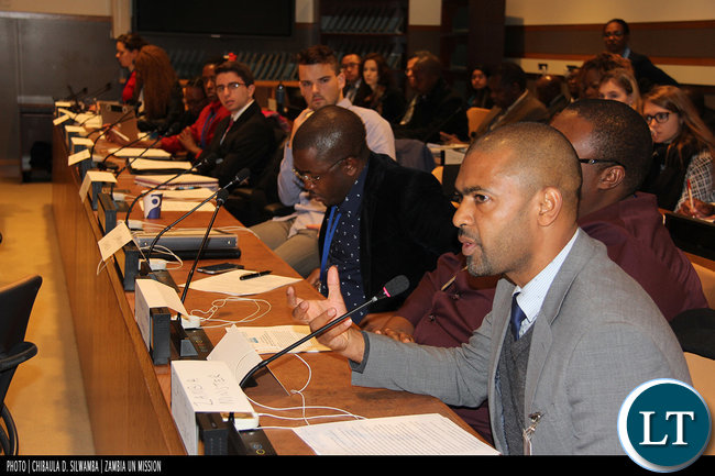 Youth, Sport and Child Development Minister Vincent Mwale at the UN ECOSOC Youth Forum in New York, USA, February 2016. Photo | Chibaula D. Silwamba | Zambia UN Mission