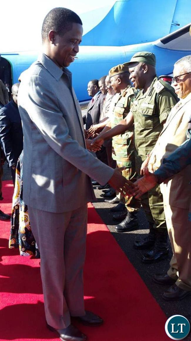 President Lungu on arrival at Solwezi Airport on Sunday, February 21,2016 -Picture by EDDIE MWANALEZA