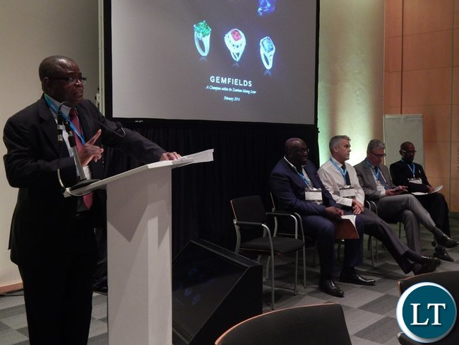 Minister Yaluma making his presentation at the Country Case Study on Zambia session at the 2016 Mining Conference in Cape Town on 10th February