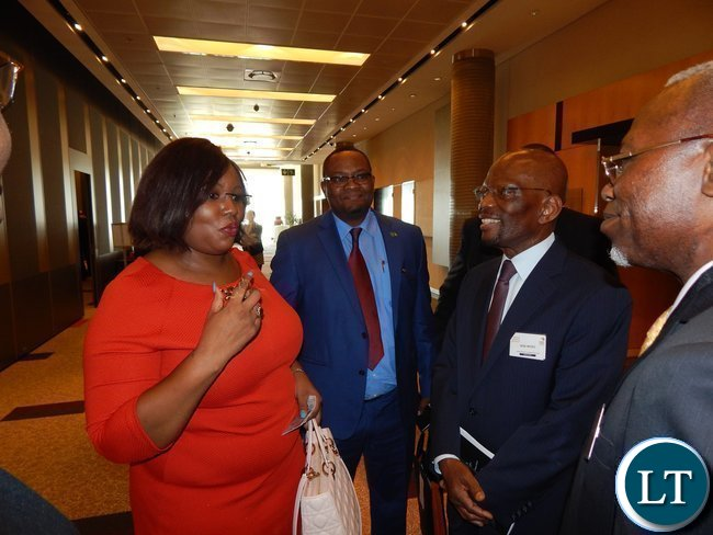 L - R: Zambia's Energy and Water Development Minister Ms. Dora Siliya, Zambia's High Commissioner to South Africa His Excellency Mr. Emmanuel Mwamba and Dean of the Diplomatic Corp in South AFrica His Excellency Bene M'poko at the Africa Energy Conference in Johannesburg