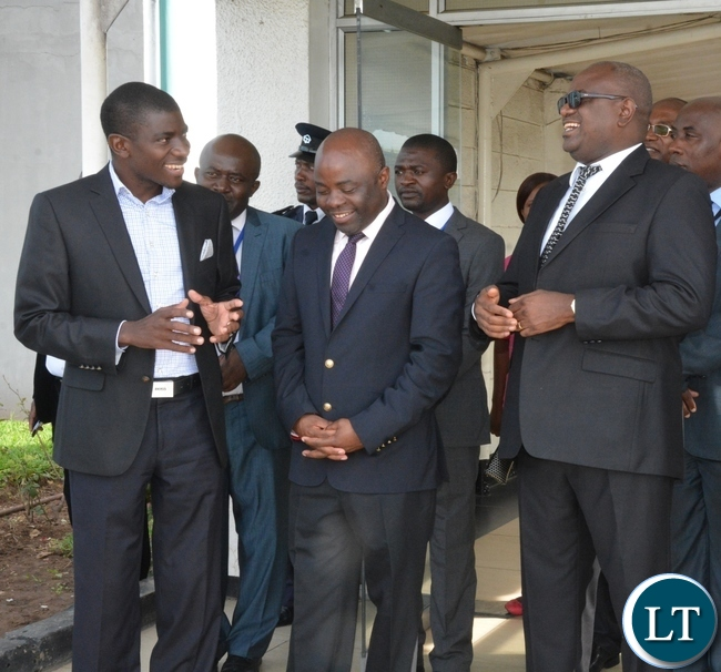 Speaker of the National Assembly Patrick Matibini(r), Minister of Local Government and Housing Stephen Kampyongo(c) and Minister of Fisheries and Livestock Greyford Monde(l) chats at KK airport just after seeing off Chairman of the Standing committee of the National peoples congress of China H.E Zhang Dejiang at KK airport