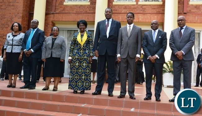 resident Lungu and his Vice President Inonge Wina (Fourth from left) and Chief Justice Irene Mambilima (third from l) pose for a photo with newly sworn in Supreme Court Judges. Supreme Court Judge Justice Charles Kajimanga (2nr),Supreme Court Judge Justice Micheal Musonda (2nl),Supreme Court Judge Justice Jane Kazor Kabuka (l), Supreme Court Judge Justice Nigel Mutuna (r), Supreme Court Judge Justice Jones Chinyama (fourth from r)