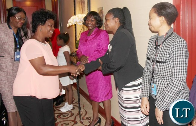 First Lady Mrs. Esther Lungu greeting Zambia UN Mission diplomatic staff on arrival in New York. She will participate in the 60th Session of the Commission on the Status on Women at UN Headquarters. PHOTO | Chibaula D. Silwamba | Zambia UN Mission