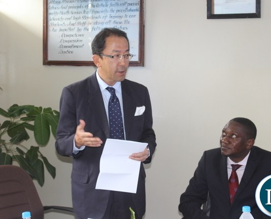 Japanese Ambassador to Zambia Mr. Kiyoshi Koinuma (left) stresses a point when he delivered his speech during the official handover ceremony of a digital X-Ray the product of Fuji Film South Africa worth US$90,909 by the Japanese Embassy to Monze Mission Hospital