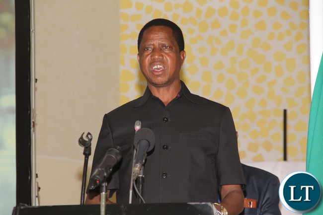 Presidenty Lungu Delivering his speech