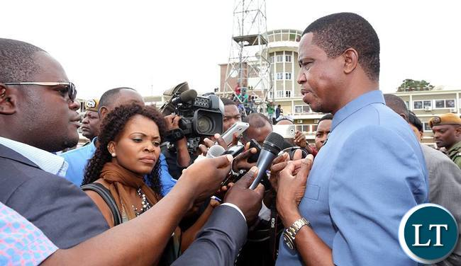 President Lungu addressing Journalists at the airport