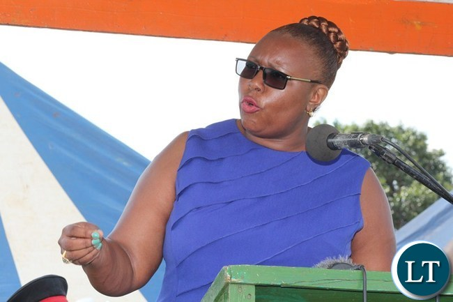 ENERGY and Water Development Minister Dora Siliya stresses a point during National Water Day celebration at Choma Stadium