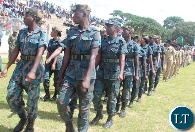 Zambia National Service matching in Godfrey Chitalu stadium during this year's Youth day celebrations in Kabwe. PICTURE BY SUNDAY BWALYA/ZANIS