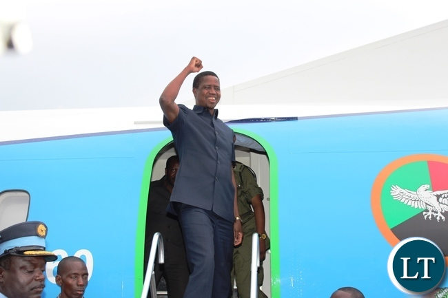PRESIDENT Edgar Lungu alights from a ZAF plane on arrival at Chipata airport