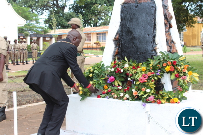 CHIPARTA Mayor, Jealous Phiri, lays a wreath on a cenotaph during this year's Youth Day commemoration held at David Kaunda stadium in Chipata on Saturday. PICTURE BY STEPHEN MUKOBEKO/ZANIS