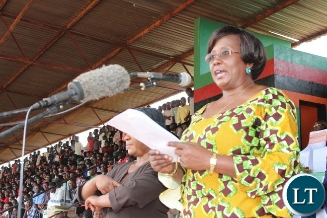 COMMUNITY Development and Social Welfare Minister, Emerine Kabanshi, speaking when she officiated at this year's Youth Day commemorations held at David Kaunda stadium in Chipata on Saturday. PICTURE BY STEPHEN MUKOBEKO/ZANIS
