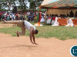 "Acrobatic Skills by various Schools and colleges entertained the crowds(not in picture) during the Youth Day Celebrations held yesterday in Monze under the theme, """"Youth: Champions of Dialogue, Peace, Unity and Economic Emancipation."""