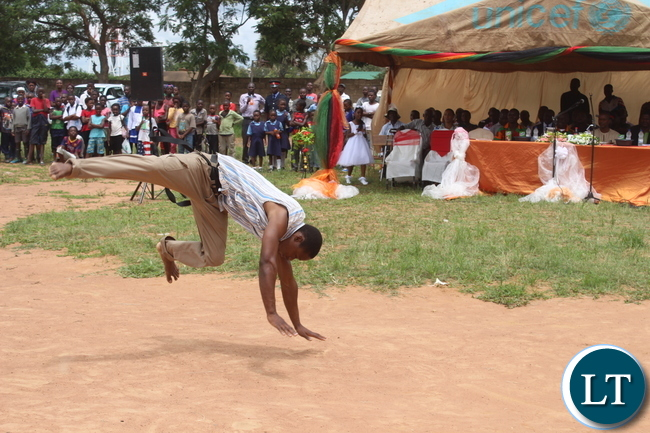 """Acrobatic Skills by various Schools and colleges entertained the crowds(not in picture) during the Youth Day Celebrations held yesterday in Monze under the theme, """"""""Youth: Champions of Dialogue, Peace, Unity and Economic Emancipation."""""""