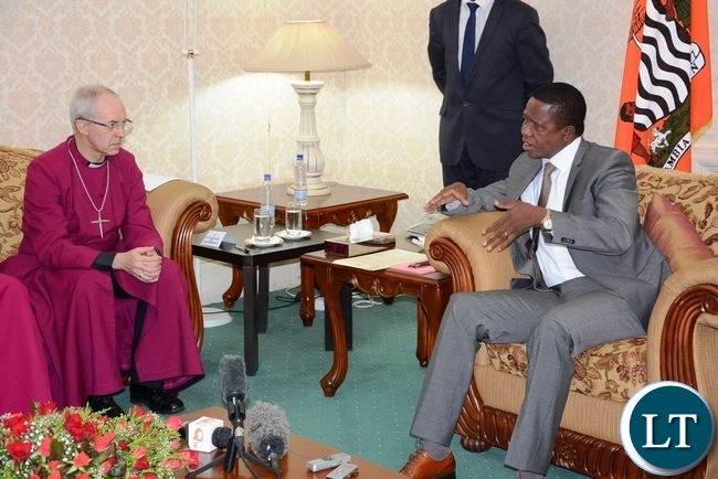 President Edgar Lungu speaks to the most Reverend and Right Honourable Dr. Justin Portal Welby, Archbishop of Canterbury (c) and the most Reverend Albert Chama, Archbishop of Central Africa when they called on him