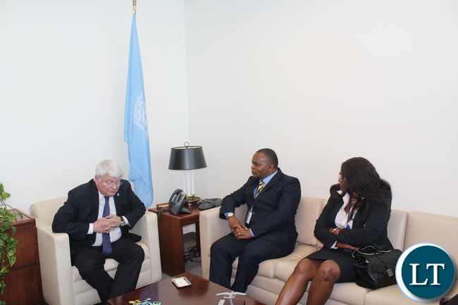 Zambia Air Force Commander Lieutenant General Eric Chimese (c) in a meeting with UN Under-Secretary General for peacekeeping Operations Hervé Ladsous at United Nations Headquarters in New York on Monday 25 April, 2016. On the right is Zambia UN Ambassador Dr Mwaba Kasese-Bota. PHOTO | Capt. Michelle Mwiza Kayanda | ZAF