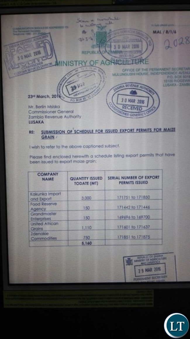 A letter of export for Maize issued by Agriculture PS Julius Shawa