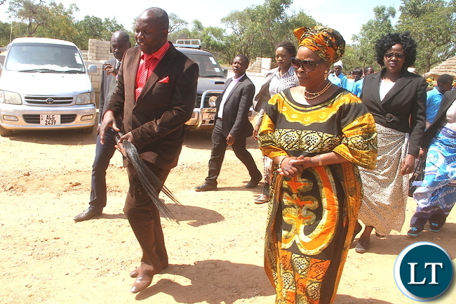 First Lady Esther Lungu when she paid a Courtesy call on Chief Chamuka at his palace in Chisamba District on Friday, April 29,2016 –Picture by THOMAS NSAMA