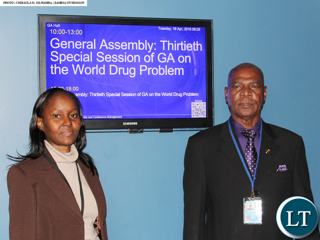 Hon. Gerry Chanda and DEC chief Alita Mbahwe at UNGASS2016