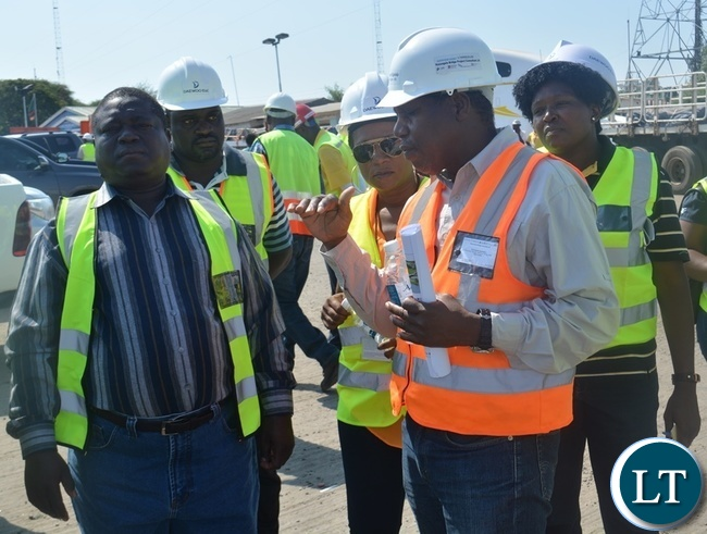 Works and Supply Minister Yamfwa Mukanga (far left), Road Development Agency (RDA) director in charge of communications and corporate affairs Royce Saili (far left), Kazungula Bridge Project Team Leader Kabamelo Kgoboko (next to Ms Saili) and Kazungula District Coommissioner Pascalina Musokotwane (next to Mr Kgoboko). This was on Sunday this week when Mr Mukanga and his delegation inspected the construction of the Bridge at Kazungula Border