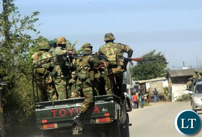 Zambia Army solders on patrol earlier today