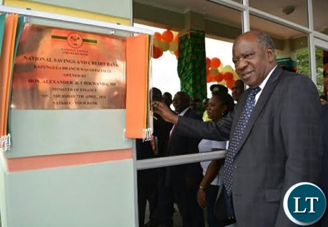 Finance Minister Alexander Chikwanda (right) launching Kazungula NATSAVE Branch