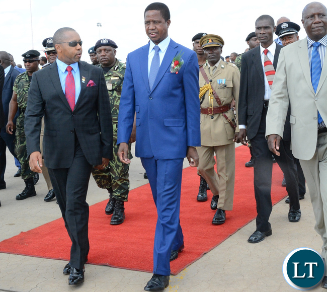 President Lungu is welcomed by Vice-President of Malawi,Dr.Saulos Chilima on arrival International Airport