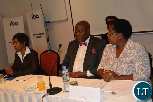 Independent Broadcasting Authority (IBA) Director General Josephine Mapoma (left), Southern Province Permanent Secretary Sibanze Simuchoba (middle) and IBA Board Member Hilda Akekelwa (right) during a media workshop for Southern Province journalists in Livingstone