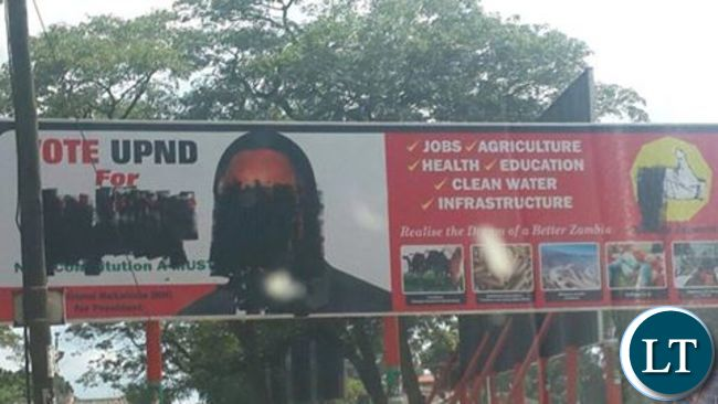 Defaced UPND posters in Lusaka