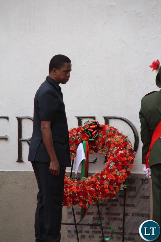 President Edgar Lungu laying wreaths