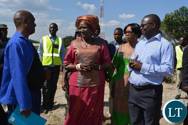 Vice President Inonge Wina inspecting the construction of Kazungula Bridge across Zambezi River