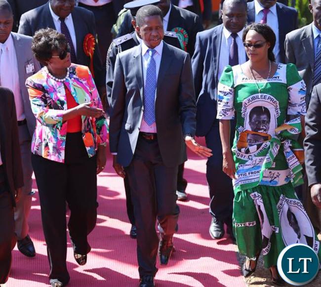 President Lungu with Mumbi Phiri and Margaret Mwanakwatwe