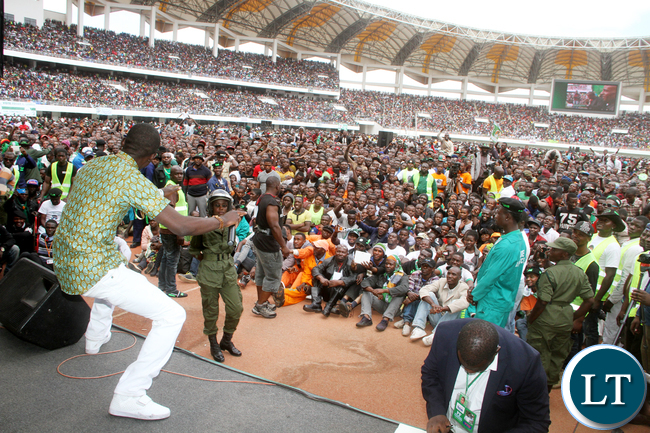 Macky II  during the PF National Campaign and Manifesto Launch 2016  at Heroes Stadium in Lusaka on Saturday, May 21,2016 -Picture by THOMAS NSAMA
