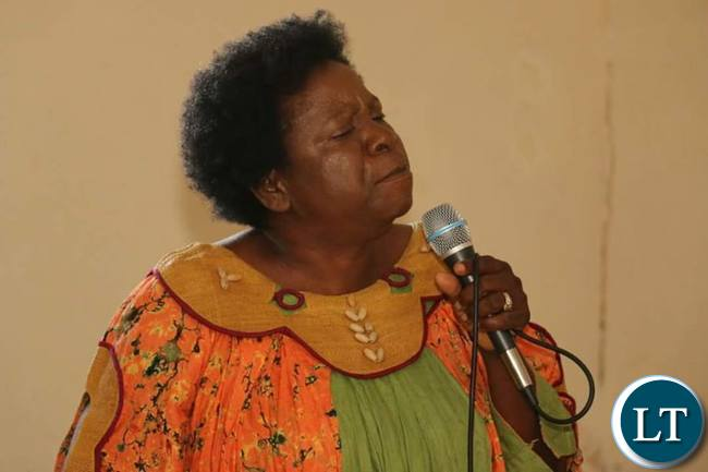 Mrs Nalumango stresses a point during the meeting