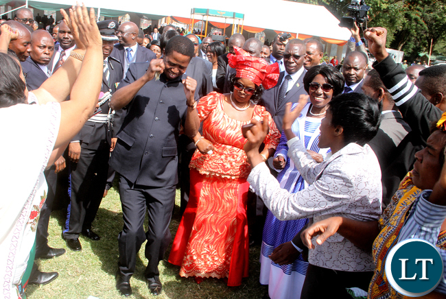 President Edgar Lungu and First Lady Esther Lungu could not resist the music by PF choir during the African Freedom Day Celebrations at State House on Wednesday, May 25,2016 -Pictures by THOMAS NSAMA
