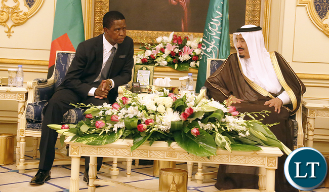 President Edgar Lungu with the King Sulman Abdullaziz Al Saud during  officials talks  at Royal Court Alsalam the Palace on Tuesday- PICTURE  BY EDDIE MWANALEZA/STATEHOUSE