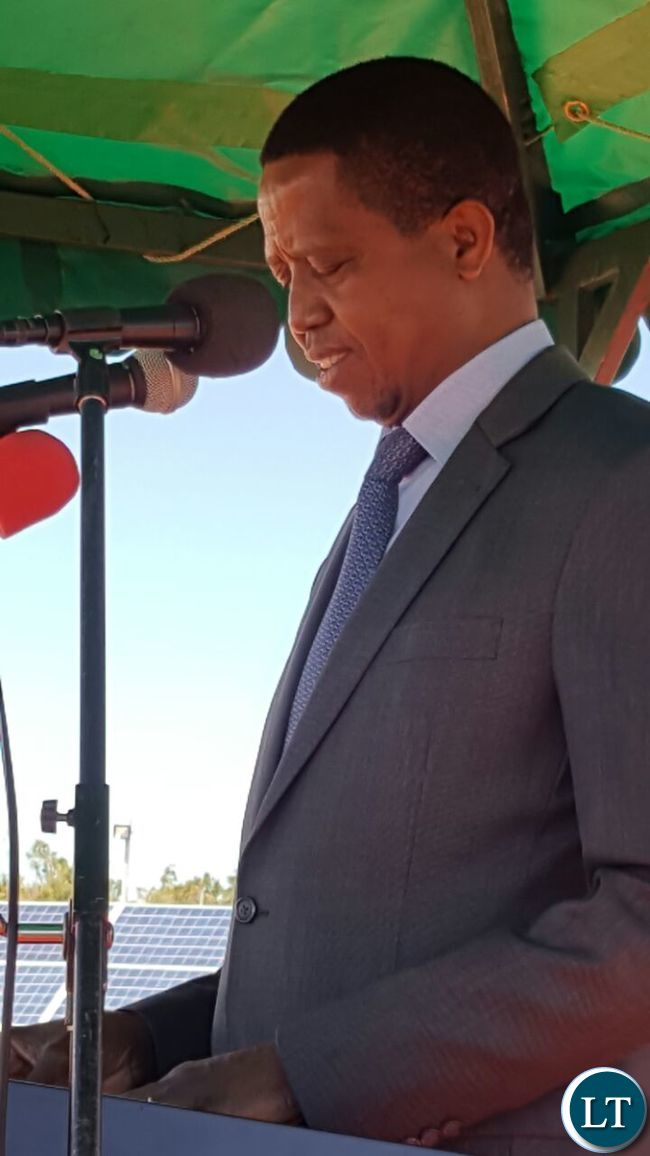 President Lungu address at the ground breaking ceremony of   the first ever solar energy plant at the Lusaka South MFEZ in Lusaka   South.