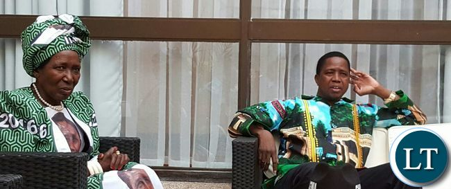 President Lungu and his running mate Veep President Inonge   Wina at State house.